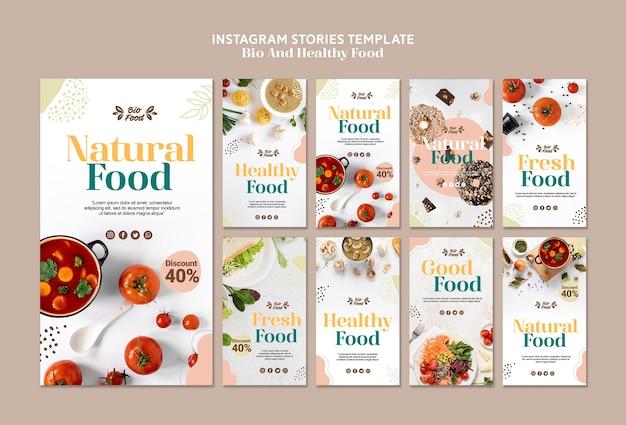Szablon opowiadań na instagramie ze zdrową żywnością