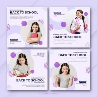 Szablon pakietu post z powrotem do szkoły na instagramie