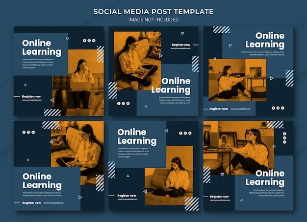 Szablon pakietu postów do nauki online na instagramie