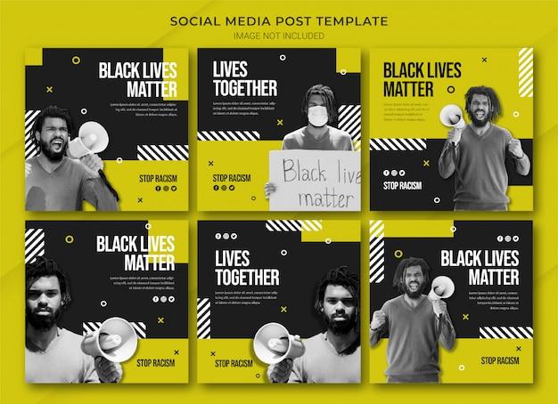 Szablon pakietu postów na instagramie black lives matter