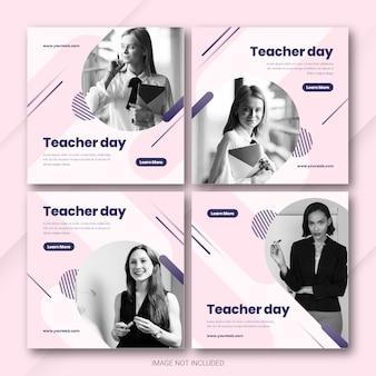 Szablon pakietu postów na instagramie na dzień nauczyciela