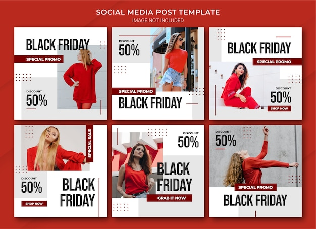 Szablon pakietu postów na instagramie w ramach kampanii czarny piątek