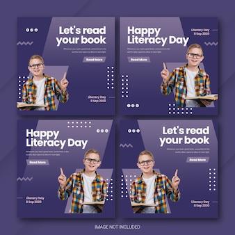 Szablon pakietu postów na instagramie z okazji międzynarodowego dnia literacy premium psd