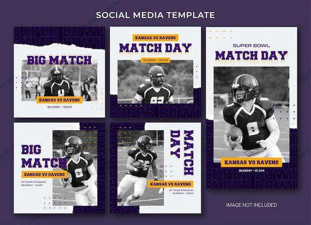 Szablon pakietu postów w mediach społecznościowych futbolu amerykańskiego