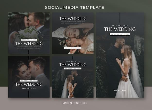 Szablon pakietu postów w mediach społecznościowych ślubnych