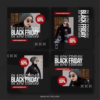Szablon pakietu postów w ramach kampanii black friday na instagramie