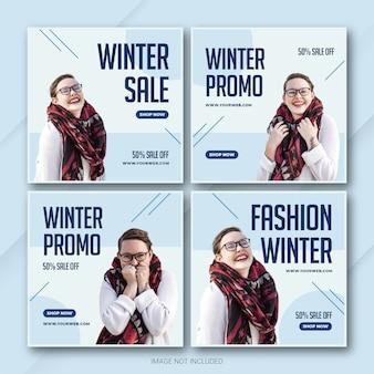 Szablon pakietu postu na instagramie w zimowej sprzedaży