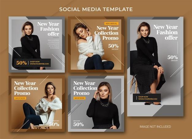 Szablon pakietu postu na instagramie z okazji nowego roku mody