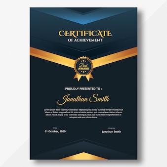 Szablon pionowego ciemnego certyfikatu