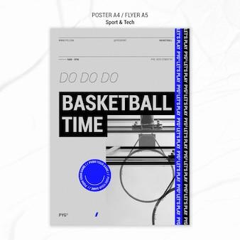 Szablon plakat czas gry w koszykówkę