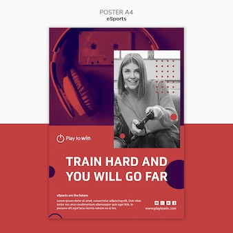 Szablon plakat koncepcja e-sportu