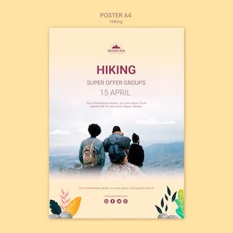 Szablon plakat koncepcja piesze wycieczki