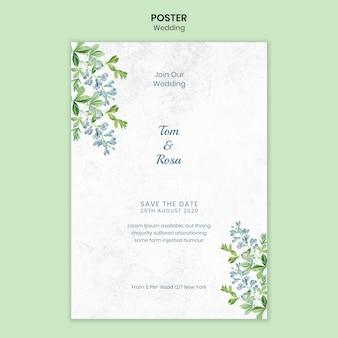 Szablon plakat koncepcja ślubu