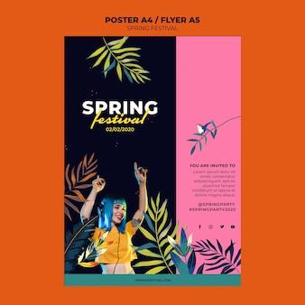 Szablon plakat kreatywny festiwal wiosny