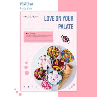 Szablon plakat kreatywnych cukierków sklep