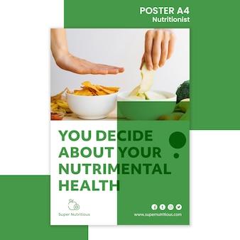 Szablon plakat kreatywnych dietetyk ze zdjęciem