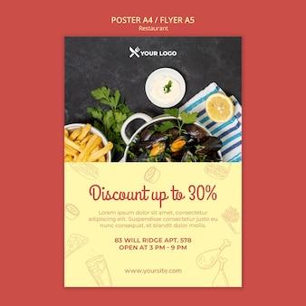 Szablon plakat oferta zniżki w restauracji
