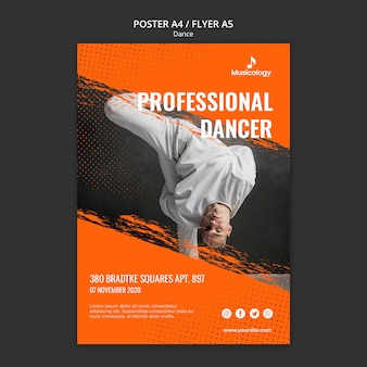 Szablon plakat profesjonalny tancerz muzykologii