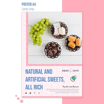 Szablon plakat sklep ze słodyczami
