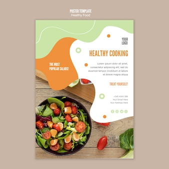 Szablon plakat zdrowe gotowanie sałatka