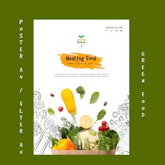 Szablon plakat zdrowej żywności ze zdjęciem