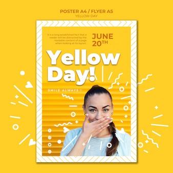 Szablon plakat żółty dzień ze zdjęciem