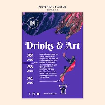 Szablon plakatów z napojami i sztuką