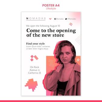 Szablon plakatu a4 moda styl życia