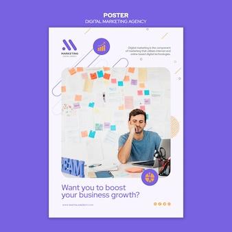 Szablon plakatu agencji marketingu cyfrowego