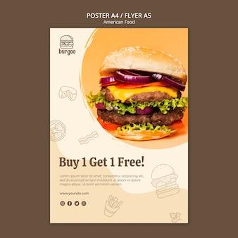 Szablon plakatu amerykańskie jedzenie