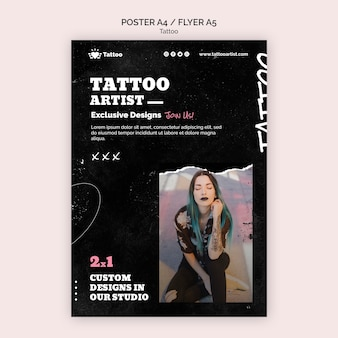 Szablon plakatu artysty tatuażu