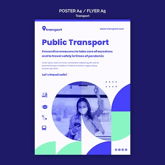 Szablon plakatu bezpiecznego transportu publicznego