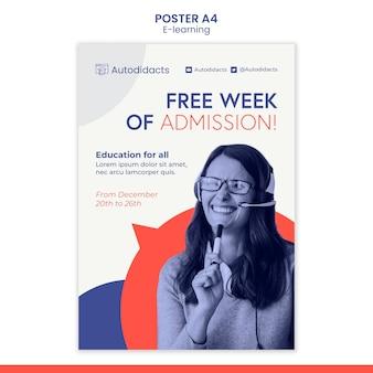Szablon plakatu bezpłatnego wstępu e-learningowego