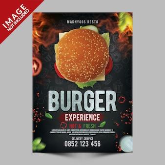 Szablon plakatu burger experience