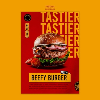 Szablon plakatu burger grunge