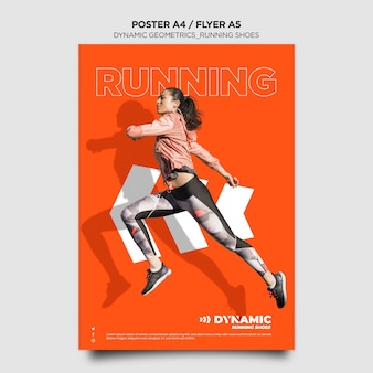 Szablon plakatu butów do biegania