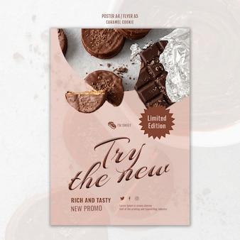 Szablon plakatu ciasteczka karmelowe