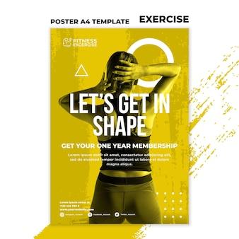 Szablon plakatu ćwiczeń fitness