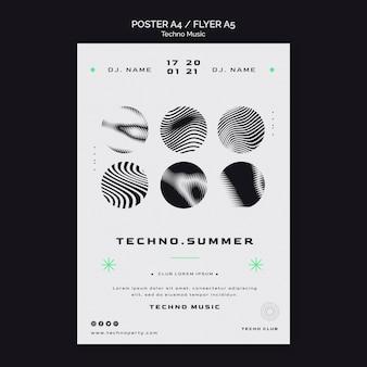 Szablon plakatu czarno-biały festiwalu muzyki techno