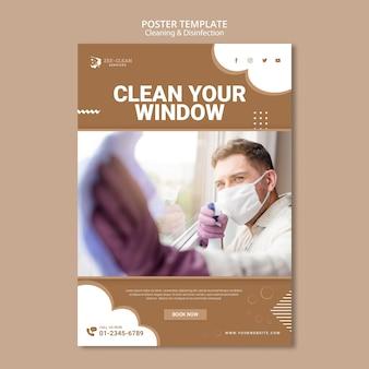 Szablon plakatu czyszczenia i dezynfekcji