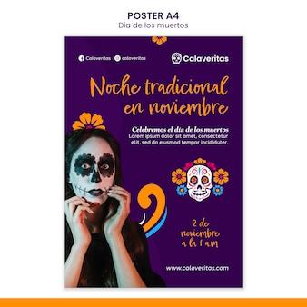 Szablon plakatu dia de los muertos