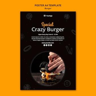 Szablon plakatu dla burger bistro