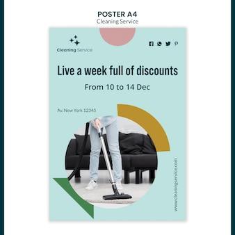 Szablon plakatu dla firmy sprzątającej dom