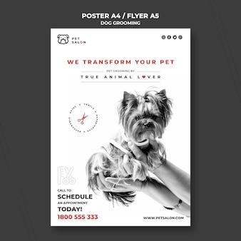 Szablon plakatu dla firmy zajmującej się pielęgnacją zwierząt
