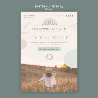 Szablon plakatu dla firmy zajmującej się zdrowym stylem życia