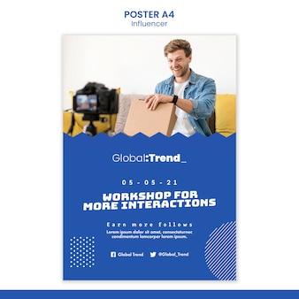 Szablon plakatu dla influencerów warsztatowych