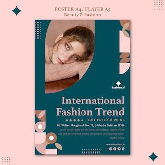 Szablon plakatu dla kobiecej urody i mody
