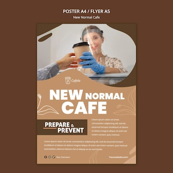 Szablon plakatu dla nowej normalnej kawiarni