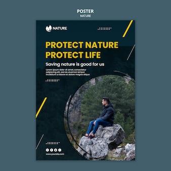 Szablon plakatu dla ochrony i zachowania przyrody