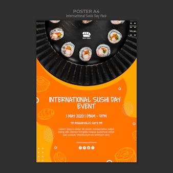 Szablon plakatu dla restauracji sushi